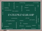foto of entrepreneurship  - Entrepreneurship Word Cloud Concept on a Blackboard with great terms such as economic private venture and more - JPG