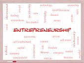 foto of entrepreneurship  - Entrepreneurship Word Cloud Concept on a Whiteboard with great terms such as economic private venture and more - JPG
