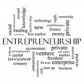 pic of entrepreneurship  - Entrepreneurship Word Cloud Concept in black and white with great terms such as economic private venture and more - JPG