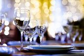 stock photo of banquet  - Served table in a restaurant at the holiday eve - JPG