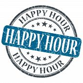Happy Hour Blue Grunge Round Stamp On White Background
