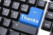 picture of thank you card  - thanks written on computer button to say thank you - JPG
