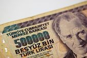 stock photo of turkish lira  - A five million turkish lira bill from Turkey