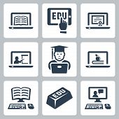stock photo of peer  - Vector online education icons set over white - JPG