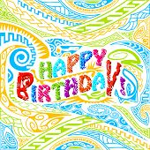 foto of tiki  - easy to edit vector illustration of tiki style Happy Birthday typography - JPG