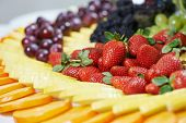 stock photo of catering service  - catering services background with fruits and berry in restaurant - JPG