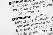 stock photo of grammar  - Grammar Dictionary Definition closeup black and white - JPG