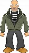 image of hooligan  - Cartoon illustrator of angry hooligan isolated with black and white scarf - JPG