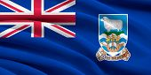 stock photo of falklands  - Flag of Falkland Islands waving in the wind - JPG