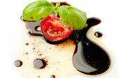 image of vinegar  - olive oil balsmaic vinegar tomato and basil - JPG