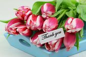 Thank you card with pink tulips on blue wooden tray