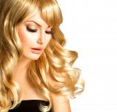 stock photo of blonde  - Beauty Blonde Woman Portrait - JPG