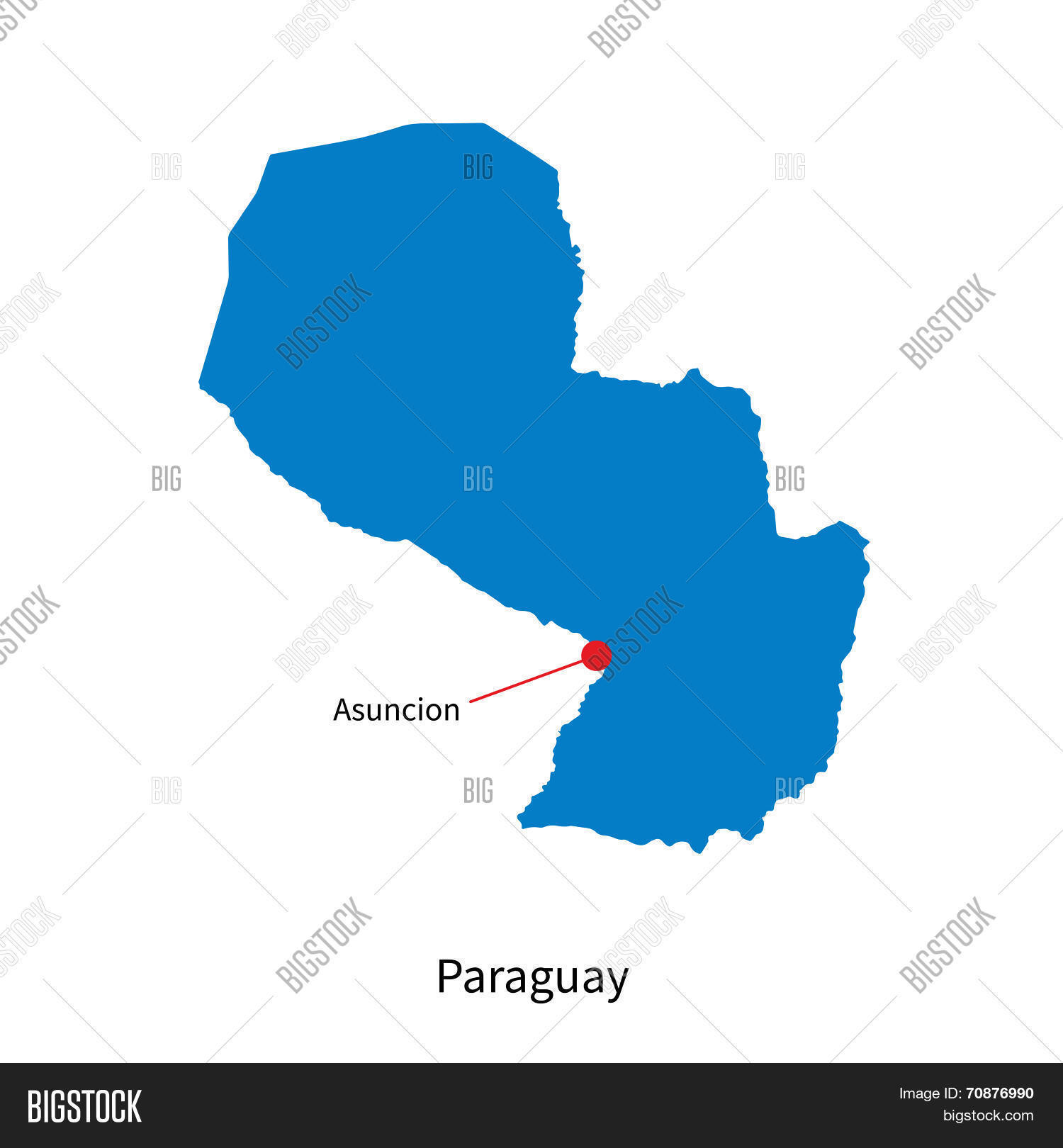 Detailed Vector Map Paraguay Vector Photo Bigstock - Map of paraguay world
