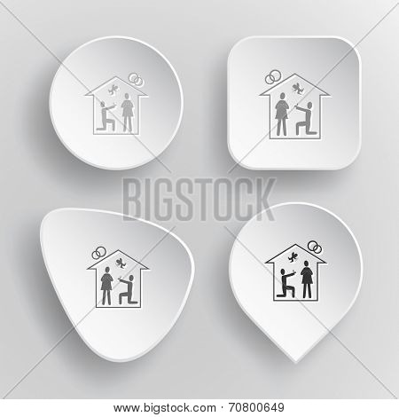 Home affiance. White flat vector buttons on gray background.