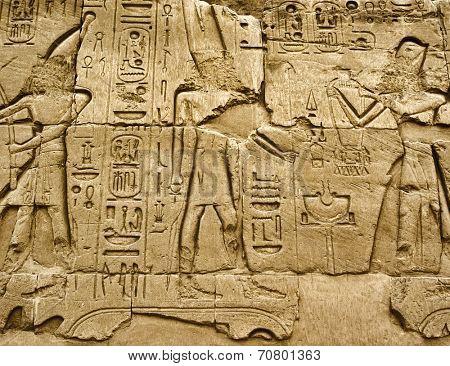 Hieroglyphic of pharaoh civilization in Karnak temple, Egypt