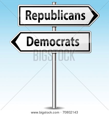 Democrats And Republicans Directions Concept