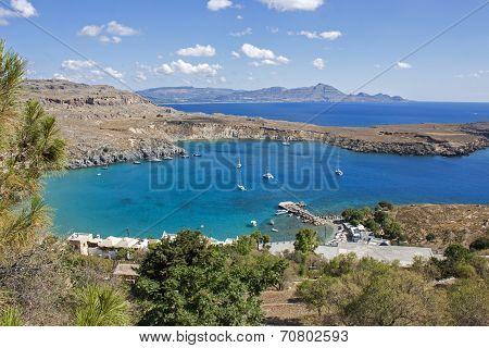 The blue sea of the Lindos Beach