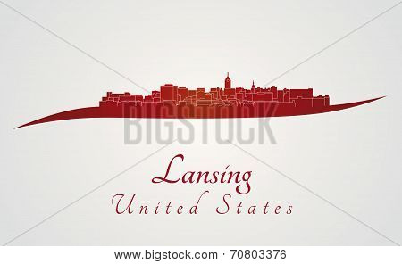 Lansing Skyline In Red