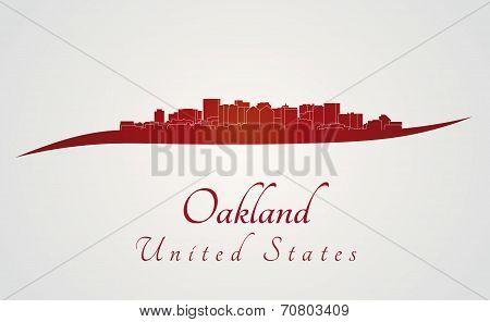 Oakland Skyline In Red