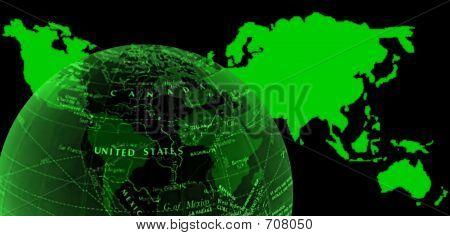 World Map And Semi-globe Glow Green
