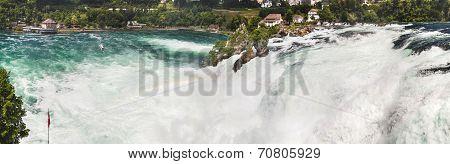 Panoramic View Of Rhine Falls, Switzerland. Waterfall With Rainbow.