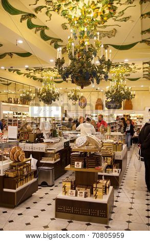 LONDON, UK - AUGUST 16, 2014: Harrods interiors with products display, sweets department