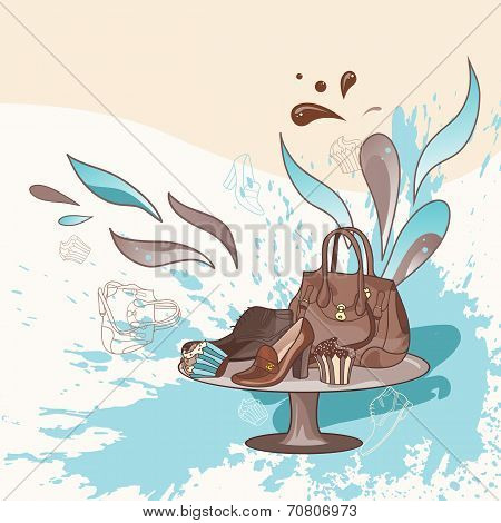 Vector illustration with bag and shoes