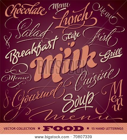 FOOD menu headlines set (vector)