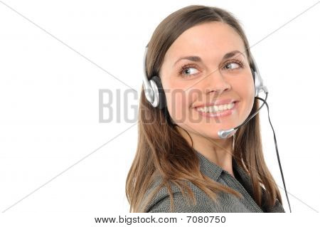 female customer service representative in headset