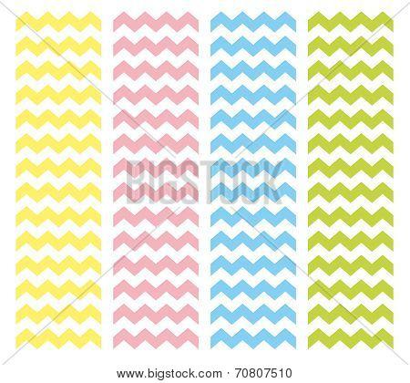 Zig zag chevron vector pattern set. Pastel pink, blue, yellow and green