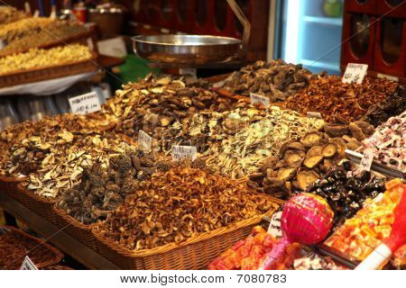 Dried Mushrooms On Market Stand
