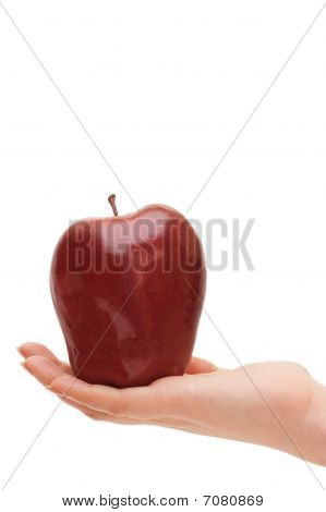 Red Apple In Woman Hand Isolated