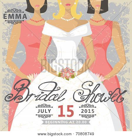 Retro Bridal shower invitation.Bride and bridesmaids