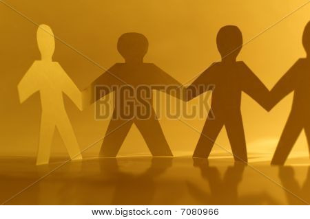 Paper Little Men Holding Hands