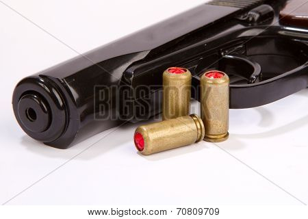 Pistol With Ammo Isolated