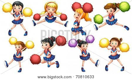 Illustration of many cheerleaders with pom pom