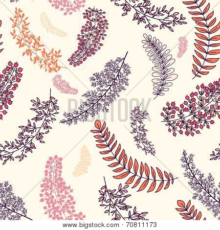 Autumn seamless pattern with branches