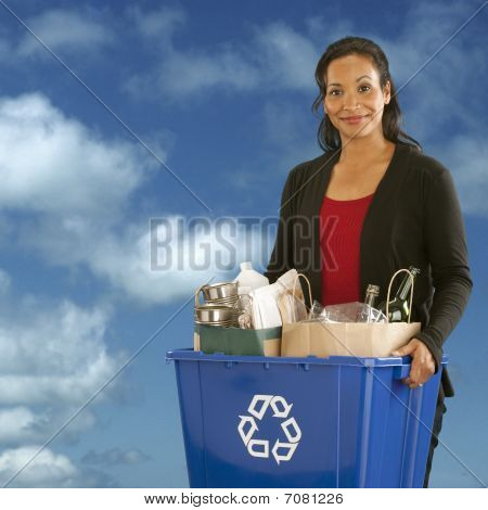 Portrait Of Woman With Recycling Bin