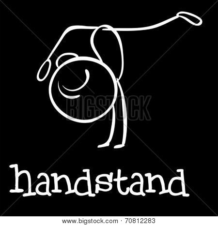 Illustration of a stickman doing handstand