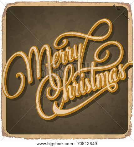 MERRY CHRISTMAS hand-lettered vintage card (vector)