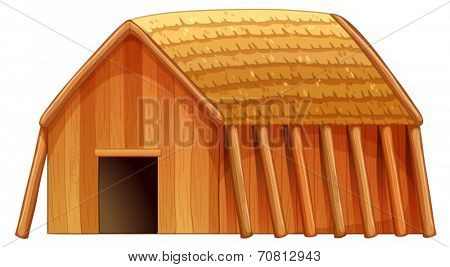 Illustration of a single wooden cottage