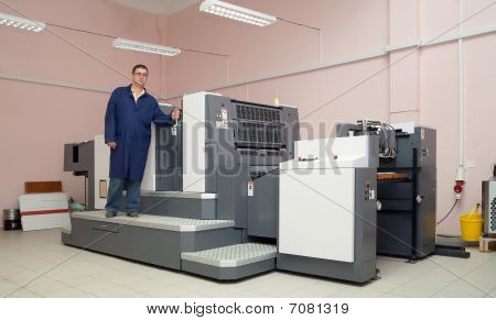 Printer Working At Offset Machine