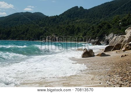 The beach and the sea in halkidiki, Greece