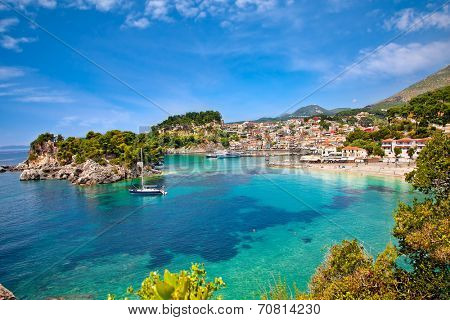 Beautiful panoramic view of Parga city, Greece.