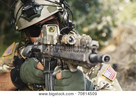 American Soldier Pointing His Rifle