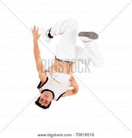 Teenager Dancing Break Dance In Action over white
