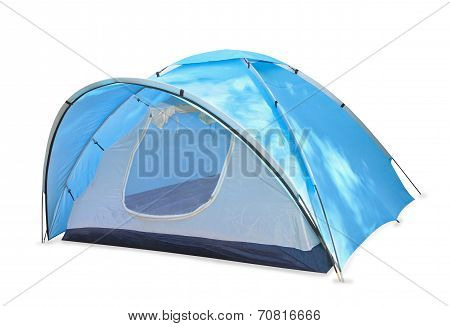 Blue touristic Tent Isolated Over White