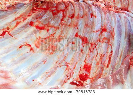 Raw Rack Of Lamb Close Up