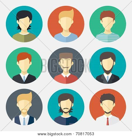 Set of man avatar flat design icons