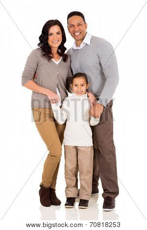 portrait of happy young family standing together isolated on white